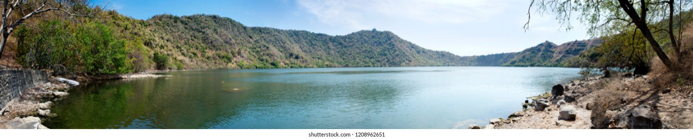 Beautiful lake view with mountain background on Satonda Island, Sumbawa, Indonesia