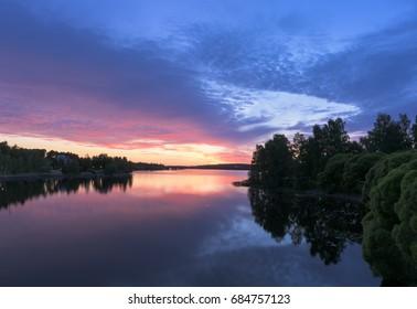Beautiful lake view in twilight time