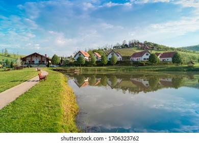 Beautiful lake view in Zselic Valley, Hungary.