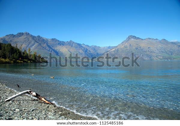 Beautiful lake Wakatipu near Glenorchy in New Zealand