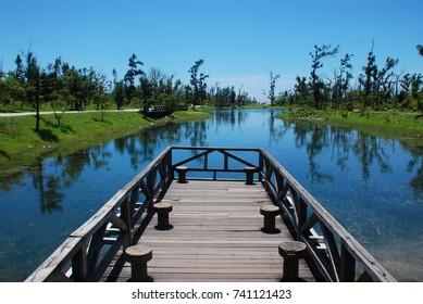 Beautiful lake water and bridge