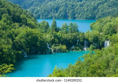 Beautiful lake and waterfall in Plitvice National Park