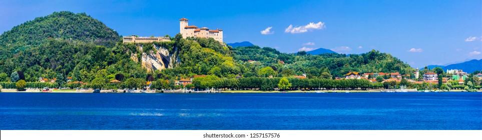 beautiful lakes of Italy - Scenic Lago Maggiore, view of Rocca di Angera with impressive castle