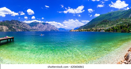Beautiful lakes of Italy - scenic Lago di Garda, view of Malcesine town