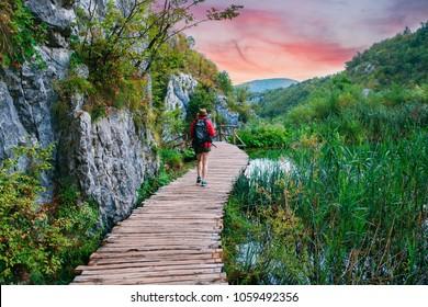 Beautiful lakes and waterfalls of Plitvice, Croatia. UNESCO heritage.