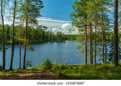 Beautiful lakeside view from a small lake in Sweden, with lush green trees, blue sky  and sunlight - Shutterstock ID 1932876887