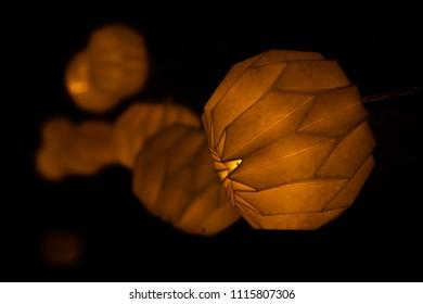 Beautiful lampion lightnign the dark night