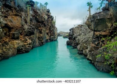 Beautiful landmark Las Grietas is a geological canyon formation in Galapagos Islands at Santa Cruz, Puerto Ayora