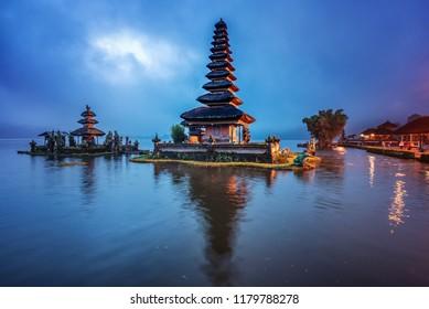 Beautiful landmark, pura ulun danu bratan temple in Bali, indonesia