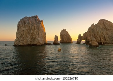 Beautiful Land's End in Cabo San Lucas, Mexico at sunset