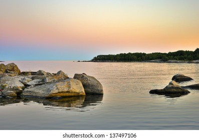Beautiful landscape after sunset in the archipelago, Sweden