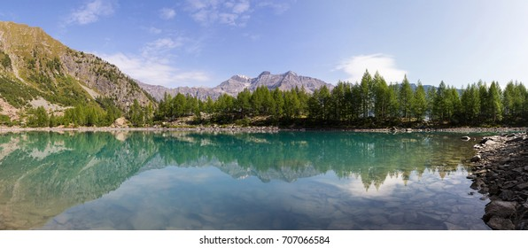 Beautiful landscape, alpine lake and forest in mountain