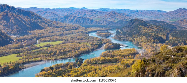 The beautiful landscape of the Altai mountains. Mountain view of the Katun river. Altai. Russia.