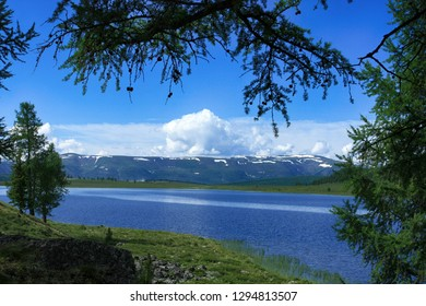 Beautiful landscape in the Altai Republic in Russia. View of the lake and mountains through the branches of trees