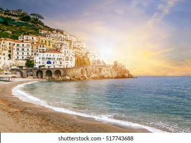 beautiful landscape of amalfi coast mediterranean sea south italy important traveling destination in europe