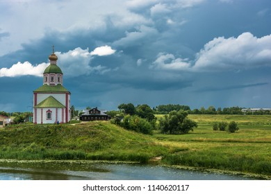 Beautiful landscape in the ancient city of Suzdal on a summer cloudy day, Russia.