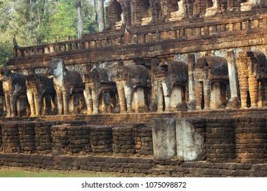 Beautiful landscape of ancient  temple in sisatchanalai heritage ,Sukhothai, Thailand