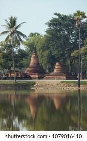 Beautiful landscape of ancient  temple in sukhothai-historypark ,Sukhothai, Thailand