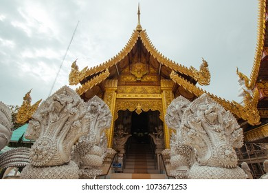 Beautiful landscape of ancient  temple in wat sanpayanglouang Temple, lamphun, Thailand