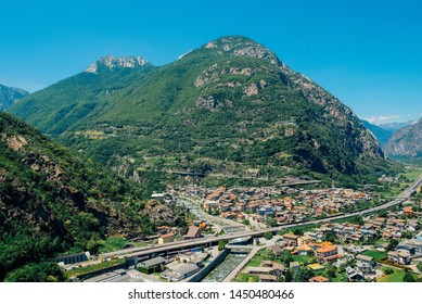 Beautiful landscape in the Aosta Valley mountainous region in northwestern Italy. Alpine valley in summer seen from fort Bard. Hone, Bard, Valle d Aosta.