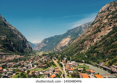 Beautiful landscape in the Aosta Valley mountainous region in northwestern Italy. Alpine valley in summer seen from fort Bard. Hone, Bard, Valle d Aosta. Dora Baltea river