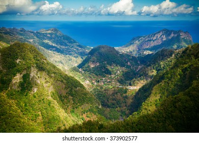 beautiful landscape with Atlantic ocean and hills of Madeira, Portugal