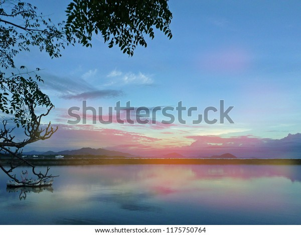Beautiful Landscape Background Chilika Lake Over Stock Photo (Edit