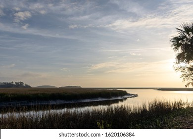 A beautiful landscape background of the lowcountry salt marsh near Sapelo Island, coastal Georgia, USA, home to an important marine estuary research centre.