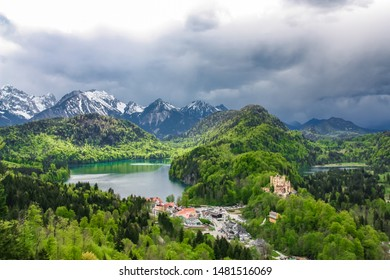 Beautiful landscape of bavaria. View from Neuschwanstein Castle to mountains, lakes, forests and the village. Germany, Fussen.