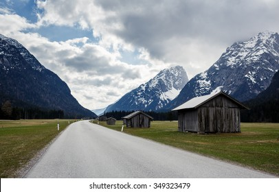 Beautiful landscape with Bavarian Alps during cloudy day