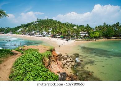 Beautiful landscape at the beach in Mirissa , southern province, Sri Lanka