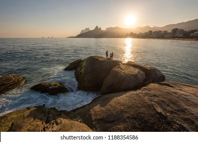 Beautiful landscape of beach , mountains and the ocean seen from Ipanema Beach in the city of Rio de Janeiro, Brazil