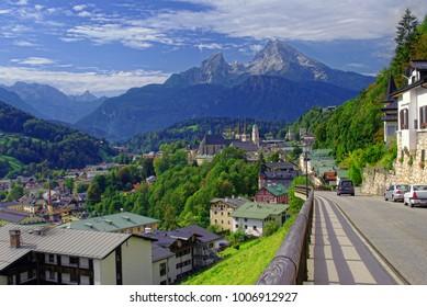 beautiful landscape of Berchtesgaden town in Bavaria Alps
