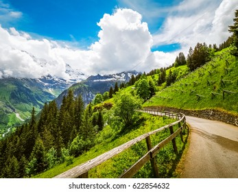 Beautiful Landscape between Murren and Gimmelwald in Switzerland.