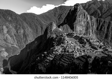 Beautiful landscape in Black and White of Machu Picchu, One of the New Seven Wonders of the World and UNESCO World Heritage Site in Peru.