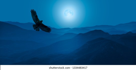"""Beautiful landscape with blue misty silhouettes of mountains - Night sky with moon in the clouds with Red-tailed Hawk flying """"Elements of this image furnished by NASA"""""""