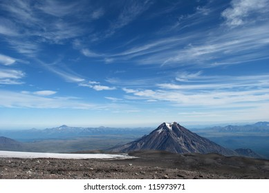beautiful landscape of blue sky and mountain