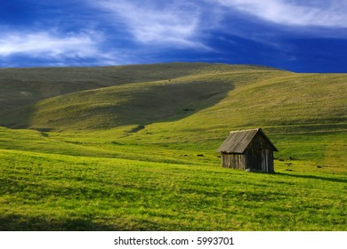beautiful landscape, and blue sky on Zlatibor, Serbia