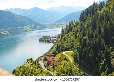 beautiful landscape with blue water, shot from above,  Zell am See, Austria