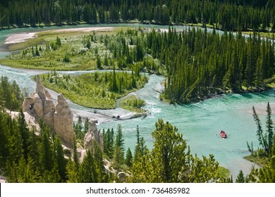 Beautiful landscape of bow river and hoodoos in banff national park alberta canada