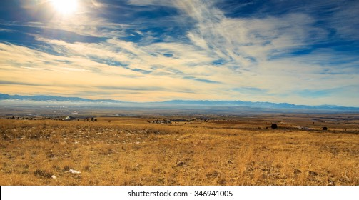 Beautiful landscape in Bozeman, Montna showing large mountains and big sky