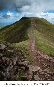 Beautiful landscape of Brecon Beacons National Park with dramatic sky