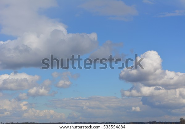 beautiful landscape: the bright blue sky with white clouds, nature, texture, background, wallpaper