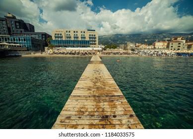 Beautiful landscape of Budva. Montenegro. Sea and mountains