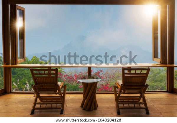 Marvelous Beautiful Landscape Cafe Style Minimal Wood Stock Photo Short Links Chair Design For Home Short Linksinfo