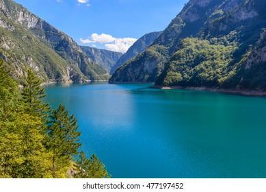 A beautiful landscape canyon Piva. Sunny day, clouds. Montenegro
