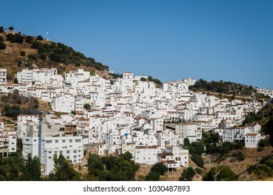 Beautiful landscape of Casares a little white village in Andalusia, Spain