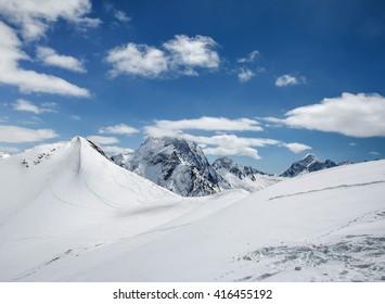 Beautiful landscape of the Caucasus Mountains Dombai on winter resort