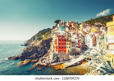 Beautiful landscape of Cinque Terre, Italy on a summer day. Scenic panorama view.