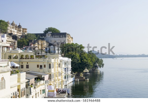 Beautiful landscape of the city on water in India Udaipur